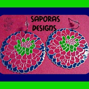 Colorful Flower Design Dangle Earrings